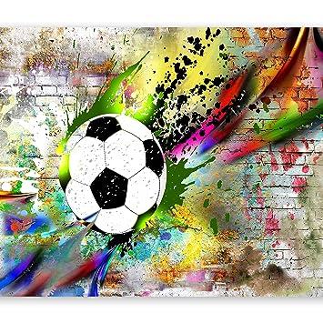 murando - Fototapete Fussball 400x280 cm - Vlies Tapete - Moderne Wanddeko  - Design Tapete - Wandtapete - Wand Dekoration – Fußball Kindertapete ...