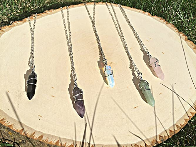 Amazon wire wrapped crystal necklace pendants hippie jewelry wire wrapped crystal necklace pendants hippie jewelry boho amethyst opalite rose aloadofball Gallery