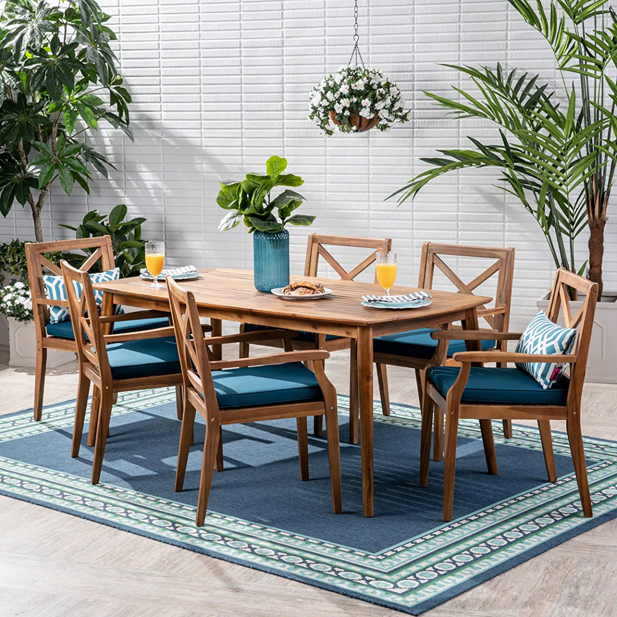 Great Deal Furniture Harvey Outdoor 7 Piece Acacia Wood Dining Set, Teak and Blue