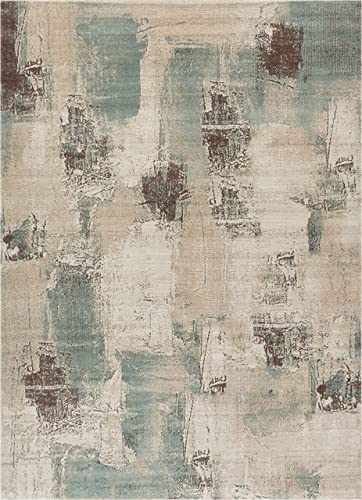 Well Woven Sandro Blue Tan Brown Ivory Modern Abstract Short Pile Kilim Style 8×11 7 10 x 9 10 Area Rug Multi Color Pattern