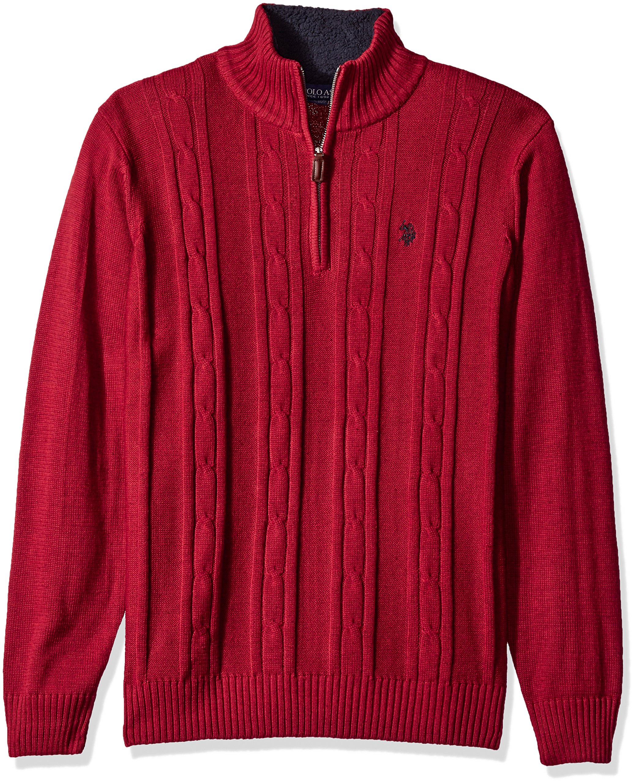 U.S. Polo Assn. Men's Solid Cable 1/4 Zip Sweater, Brick Heather, Small