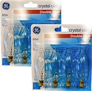 GE Crystal Clear Decorative Blunt Tip Light Bulbs, 1.4 Year Life, Candelabra Base (8 Pack) (60.00)