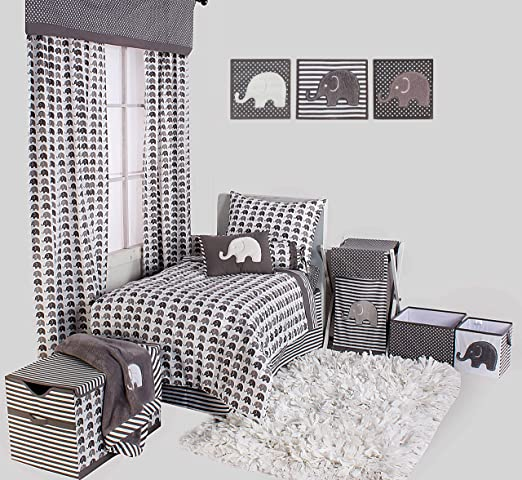 EWGHA Bacati Elephants Unisex Hamper Cover with Natural Finish Wood Frame and Mesh Liner Grey Inc