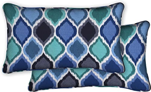 Honeycomb Indoor/Outdoor Sunbrella Empire Cobalt Lumbar Toss Pillows: Recycled Polyester Fill