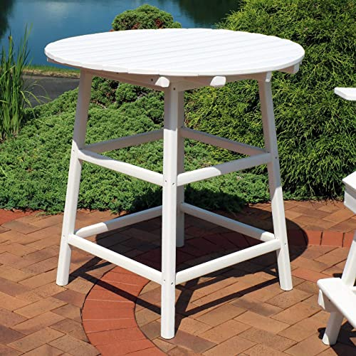 Sunnydaze All-Weather Round White Outdoor Patio Table – Modern HDPE Bar-Height Outside Dining Table – Provides Room for 4 – Ideal for The Balcony, Deck or Backyard