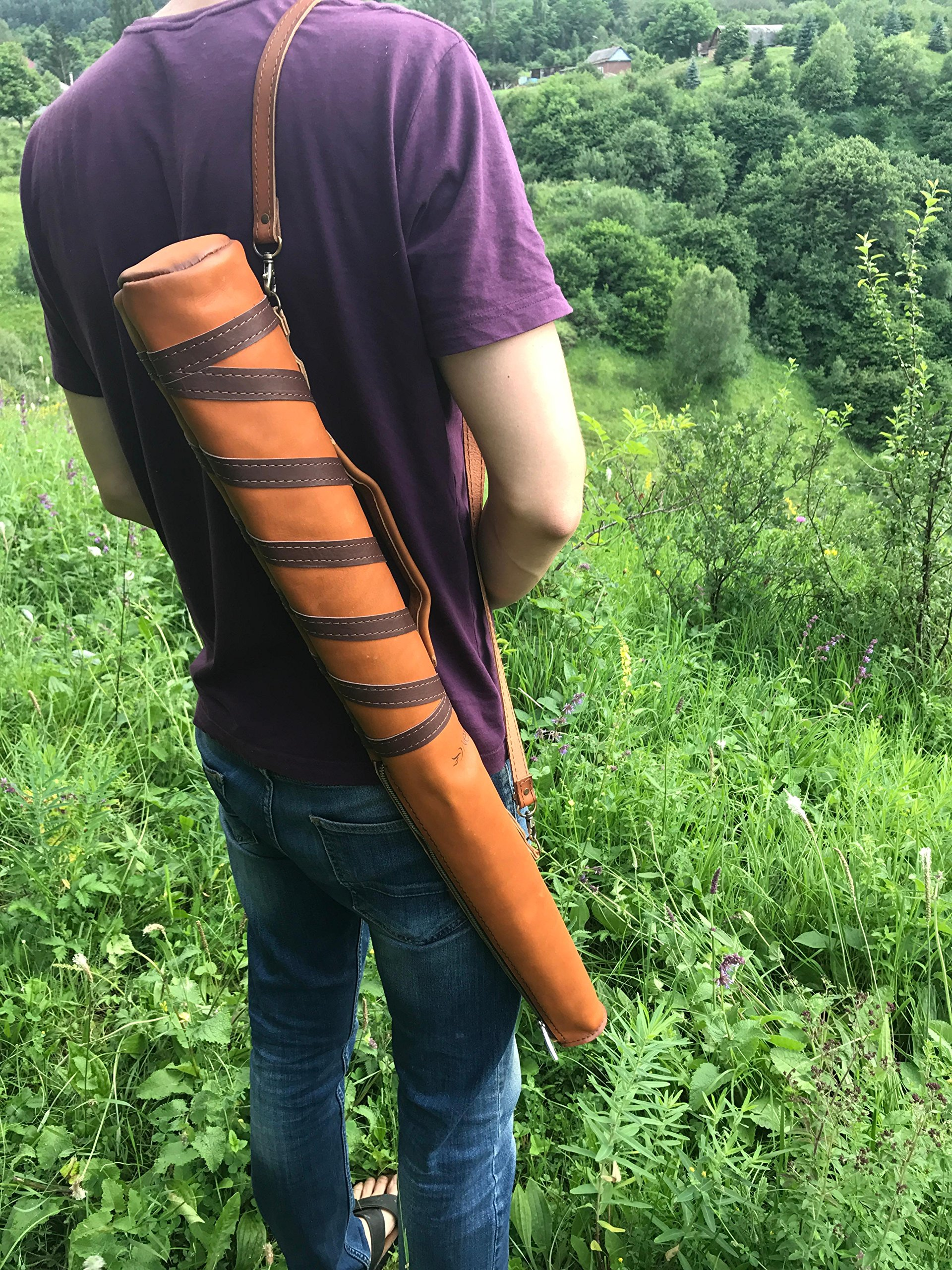 "Custom Baseball Bat Leather Sleeve Case with Adjustable Shoulder Strap is 100% Handmade by ""Nerruma"". Carrying Bag for baseball bat. Limited Edition. by Nerruma (Image #8)"