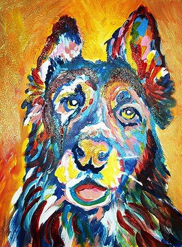 Amazon Com Abstract Colorful German Shepherd Wall Art Print