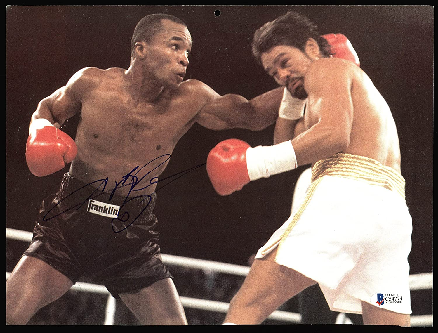Sugar Ray Leonard Authentic Signed 9x12 Boxing Calendar Page Bas
