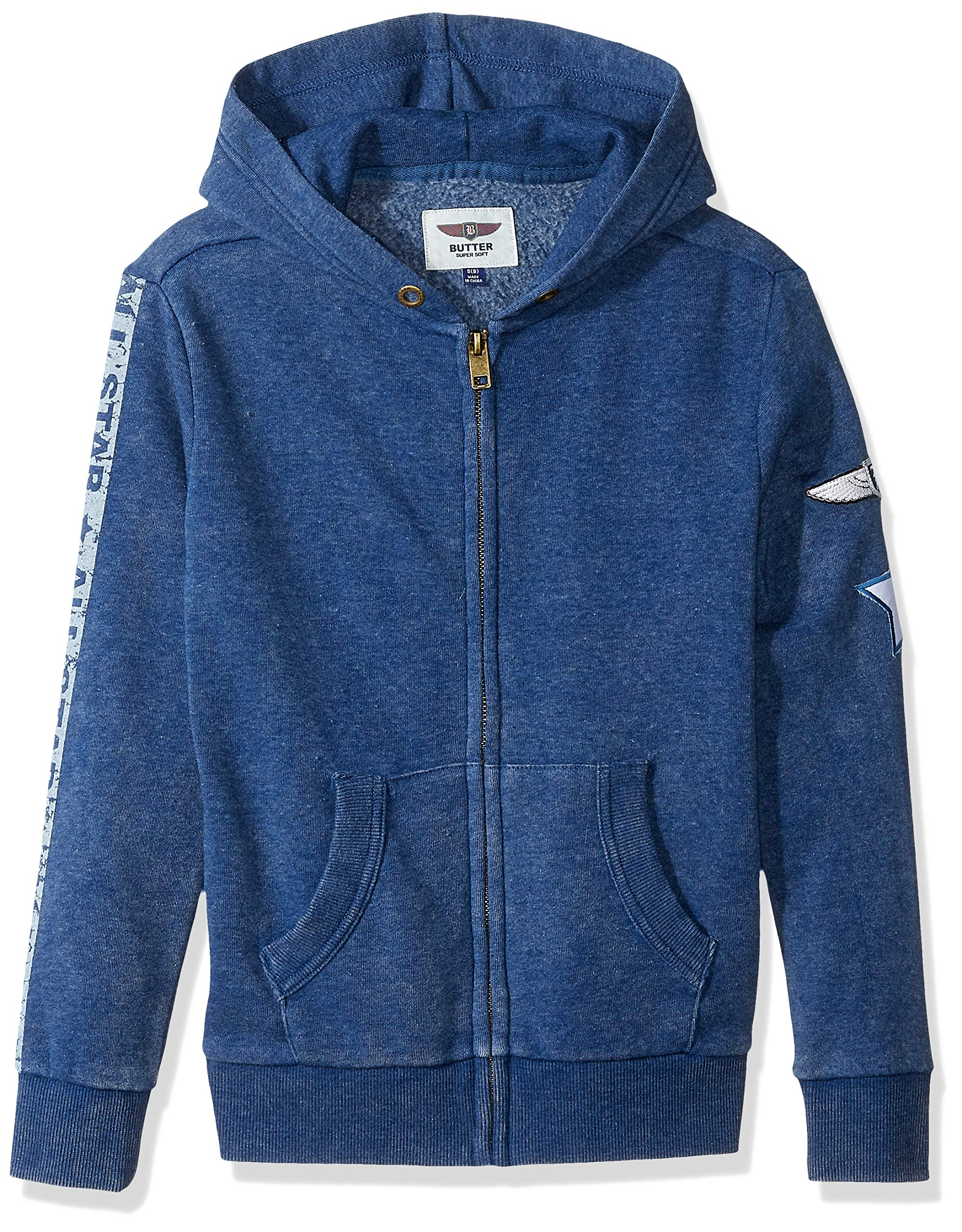 Butter Boys' Big Mineral Wash Fleece Zip Up Hoodie, Estate Blue, M