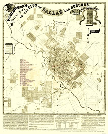 Old Dallas Map.Amazon Com Old City Map Dallas Suburbs Texas Landowner Murphy