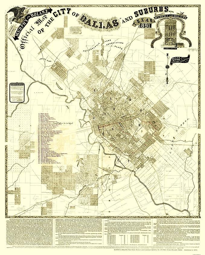 Amazon.com: Old City Map - Dallas, Suburbs Texas Landowner - Murphy ...