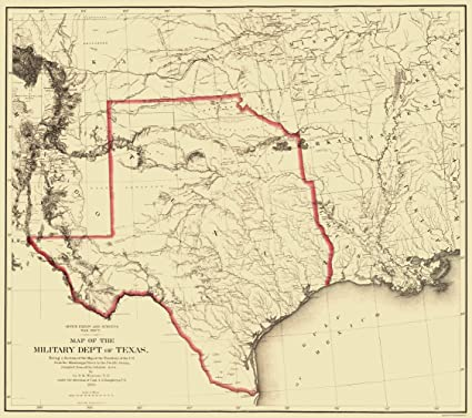 Amazon.com: Old State Map - Texas Territory Map - Humphreys 1859 ...