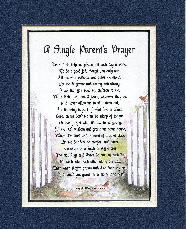 Un regalo para un solo padre, #138, tocando 8 x 10 poema, doble mate en azul marino sobre blanco y mejorado con gráficos de acuarela, regalo del día de la madre para una hija.