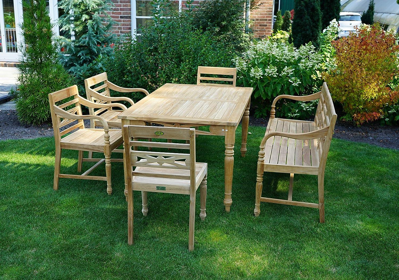 Plo/ß Ornamenttisch Cambridge 150 x 90 cm Premium Teakholztisch mit FSC-Zertifikat Terrassentisch aus f/ür 4-6 Personen geeignet Holz-Gartentisch Braun mit geschlossener Tischplatte