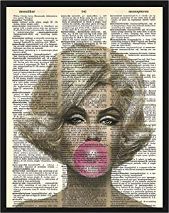 Marilyn Monroe Bubble Gum Wall Decor Marilyn Monroe Print Marilyn Monroe Dictionary Art 8 x 10