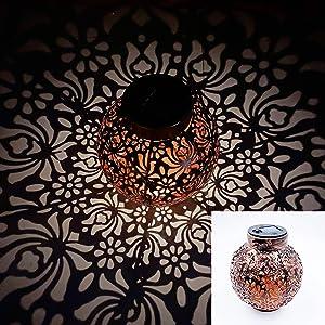 Solar Big Lantern Hanging Garden Outdoor Lights Metal Waterproof LED Table Lamp Decorative (Bronze)