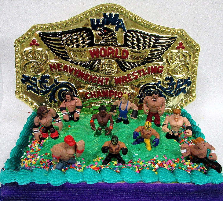 Amazon Wwe Wrestler Rumblers Wrestling Birthday Cake Topper Set