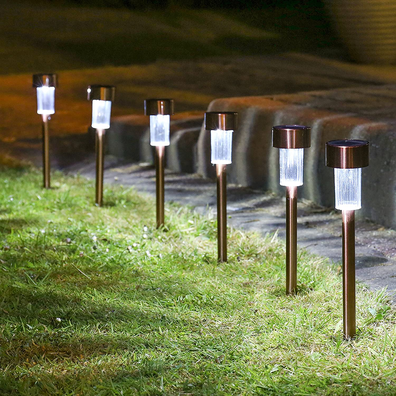 10 x STAINLESS STEEL SOLAR LIGHTS POWERED GARDEN POST PATH LED LAWN PATIO  eBay