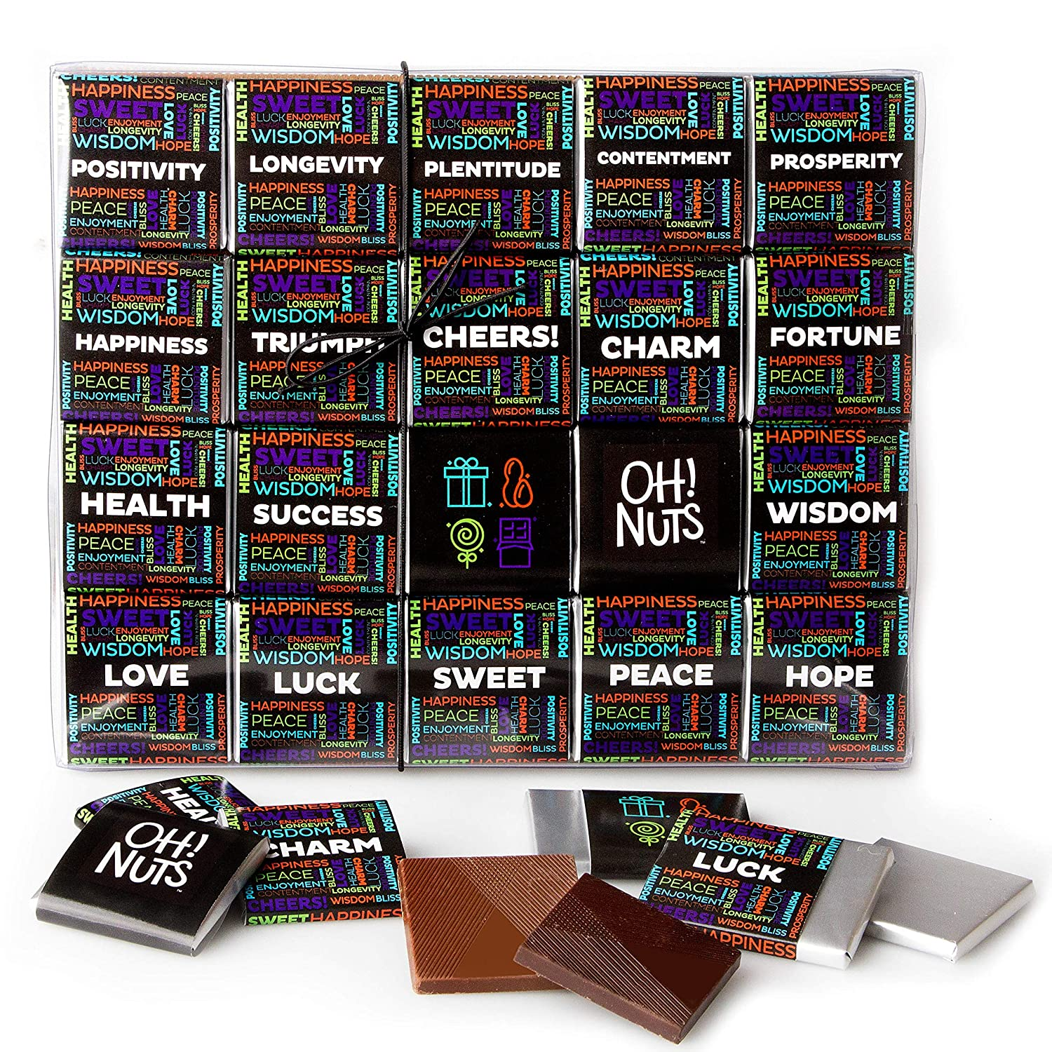 Oh! Nuts Merry Christmas 2020 Chocolate Wishes Gift Set   20 Gourmet Belgium Chocolates Blessings Assorted Flavors Holiday Gifting, Thanksgiving Prime Gifts Idea for Dad, Mom, Men & Women