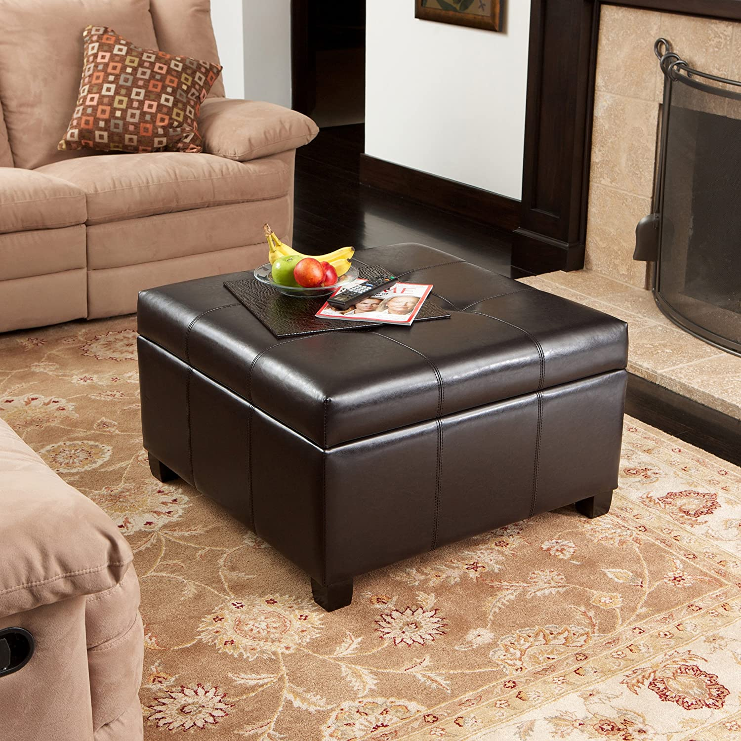 Best Selling Storage Ottoman Coffee Table Square Shaped Premium Bonded Leather In Espresso Brown