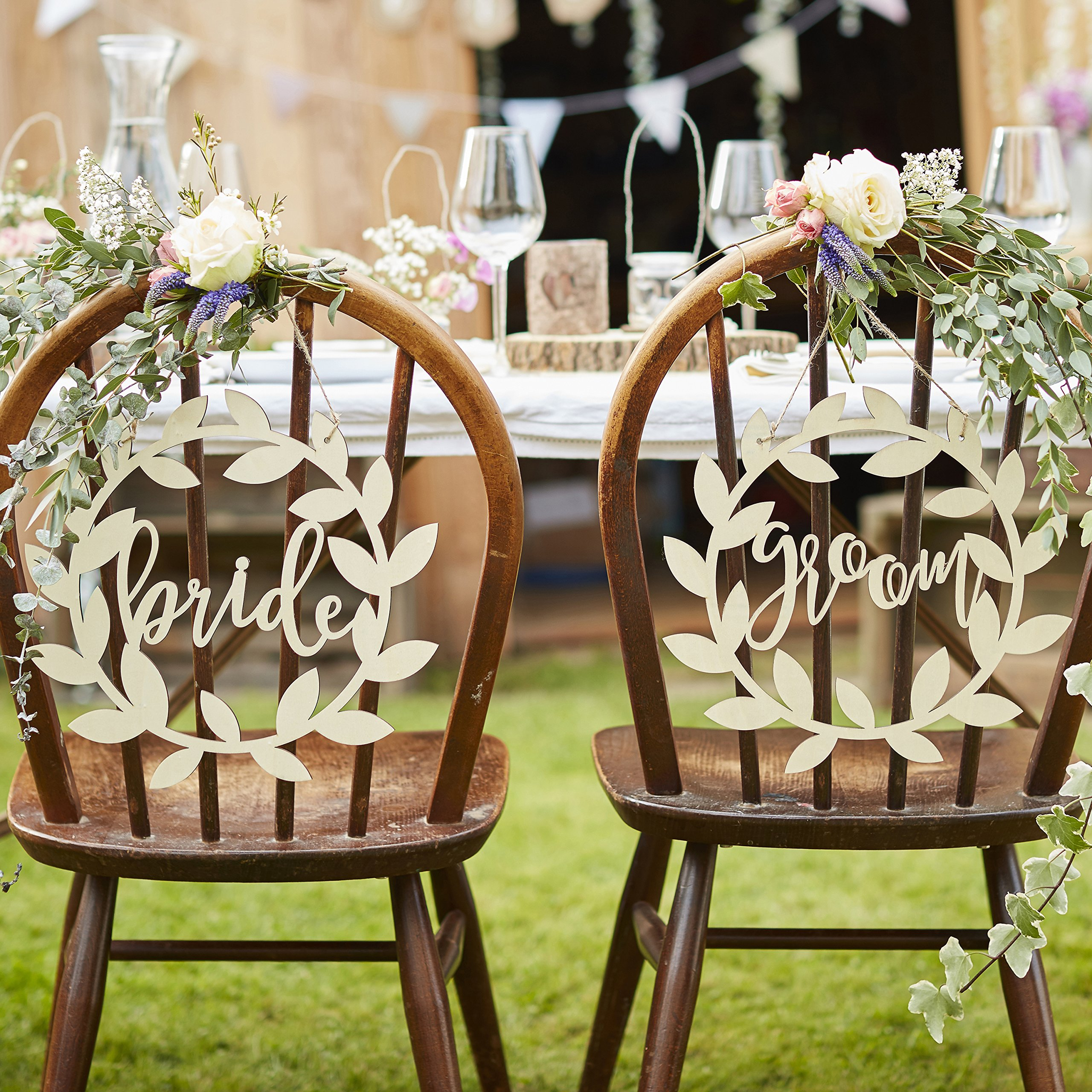 New Ginger Ray Mr And Mrs Wooden Chair Hanging Sign Wedding Decorations