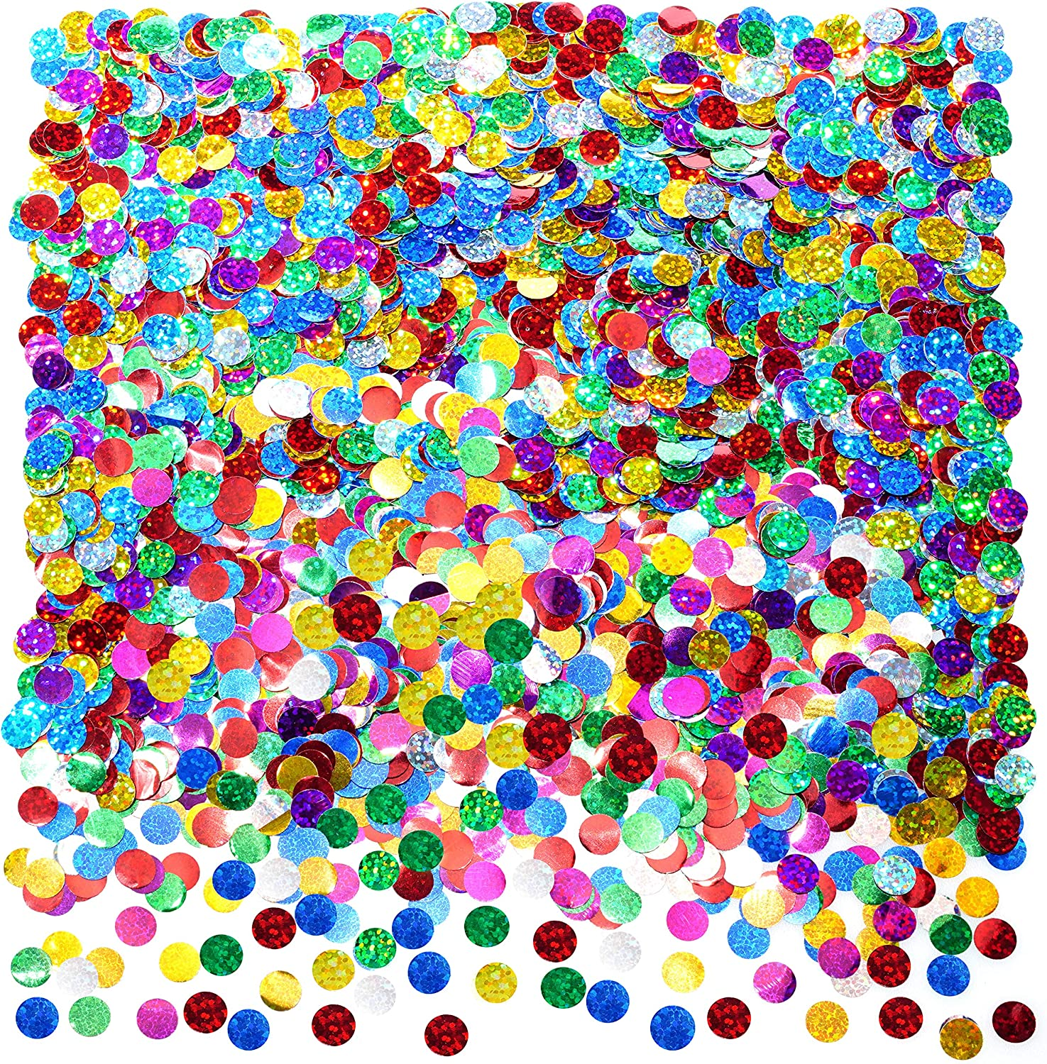 Multicolor Sparkle Foil Metallic Round Table Confetti Decor Circle Dots Mylar Table Scatter Confetti Wedding Bachelorette Valentines Mothers Day Baby Shower Birthday New Years Party Confetti Decorations, 50g
