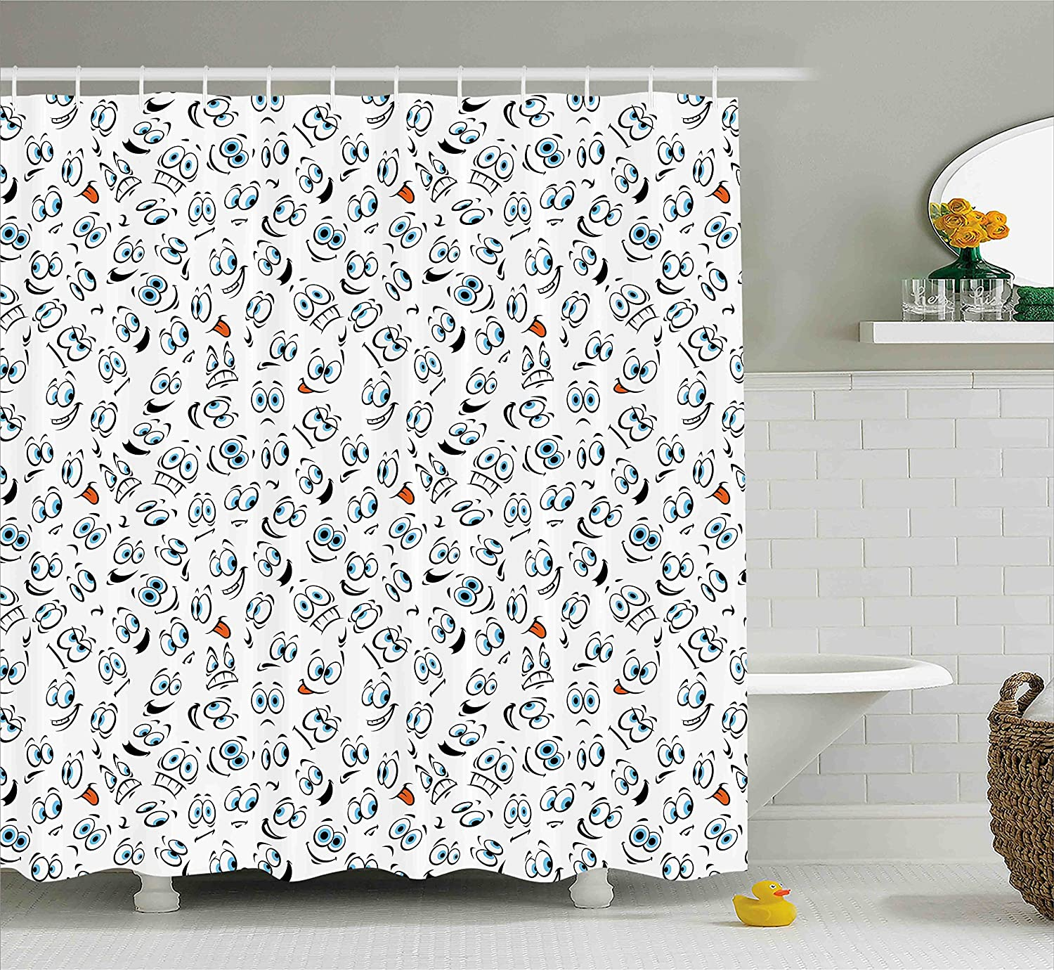 Emojis shower curtains emojis fabric shower curtain liner - Amazon Com Emoji Shower Curtain By Ambesonne Smiley Surprised Sad Hot Happy Sarcastic Angry Mood Faces Expressions Plain Backdrop Print Fabric Bathroom
