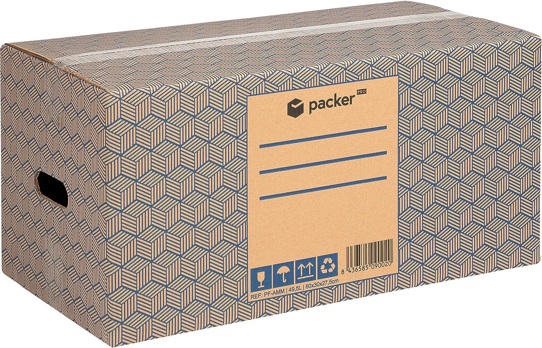 Pack 12 Cajas Carton para Mudanzas y Almacenaje 600x370x275mm Ultra Resistentes con Asas, 100% ECO Box | packer PRO: Amazon.es: Oficina y papelería