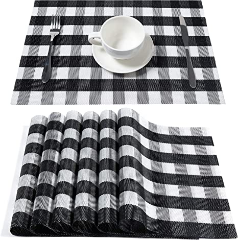 Amazon Com Dolopl Placemats Buffalo Check Black And White Farmhouse Plaid Place Mat Set Of 6 Easy To Clean Wipeable For Dining Kitchen Table Spring Summer Decorations