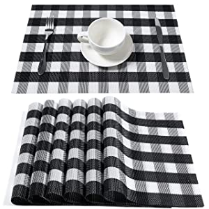 DOLOPL Buffalo Check Placemats, Table Mats,Placemat Set of 8 Non-Slip Washable Place Mats,Heat Resistant Kitchen Tablemats for Dining Table (Black and White Buffalo Check)