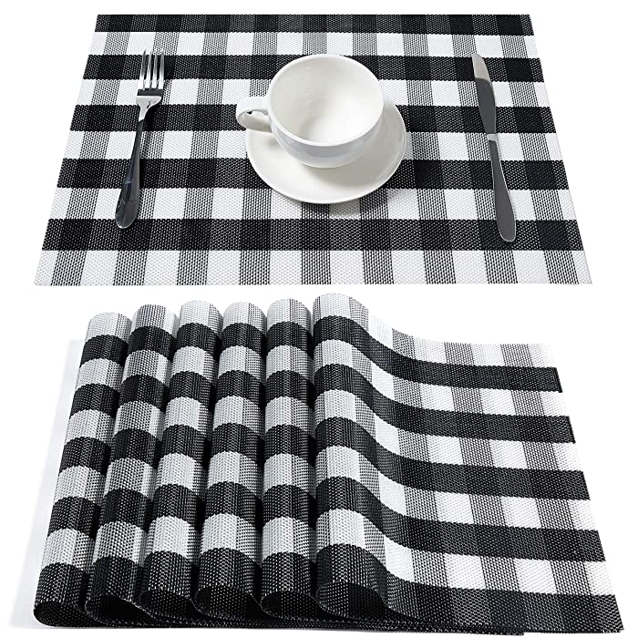 HQSILK Buffalo Check Placemats, Table Mats,Placemat Set of 6 Non-Slip Washable Place Mats,Heat Resistant Kitchen Tablemats for Dining Table (Black and White Buffalo Check)