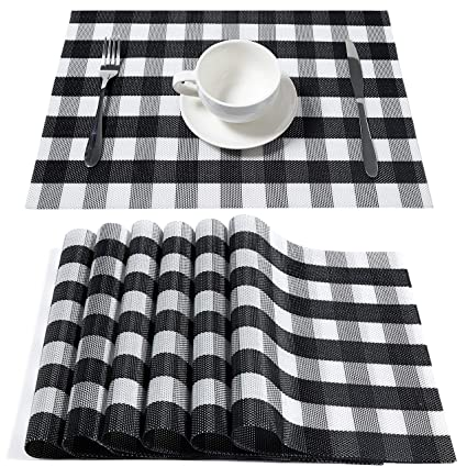 Awesome Hqsilk Buffalo Check Placemats Table Mats Placemat Set Of 6 Non Slip Washable Place Mats Heat Resistant Kitchen Tablemats For Dining Table Black And Lamtechconsult Wood Chair Design Ideas Lamtechconsultcom