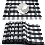 DOLOPL Buffalo Check Placemats Black and White Buffalo Plaid Placemat Set of 8 Easy to Clean Wipeable Crossweave Woven Vinyl