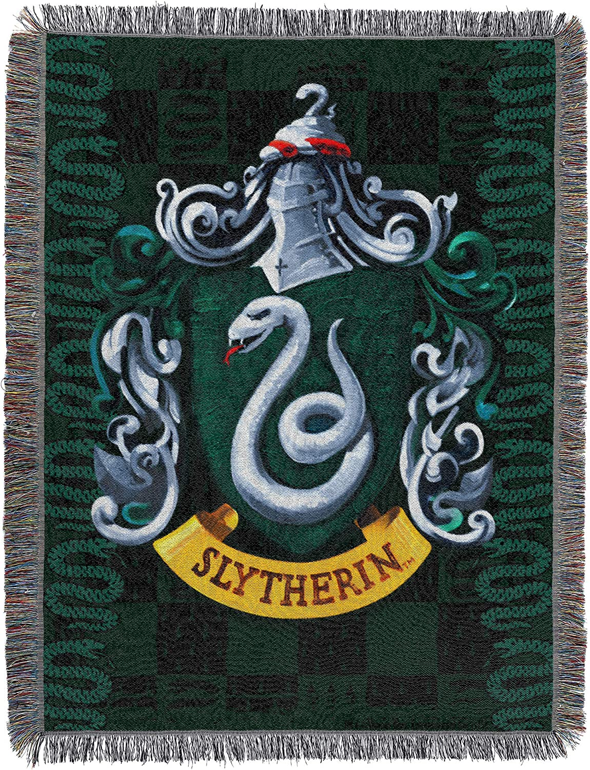 Harry Potter Slytherin House New Woven Throw Blanket Gift Malfoy Shield Crest