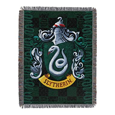 Harry Potter,  Slytherin Shield  Woven Tapestry Throw Blanket, 48  x 60 , Multi Color