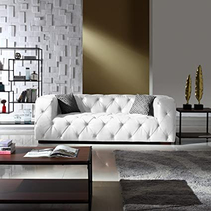 Large Tufted Real Leather Chesterfield Sofa, Classic Living Room Couch  (White)