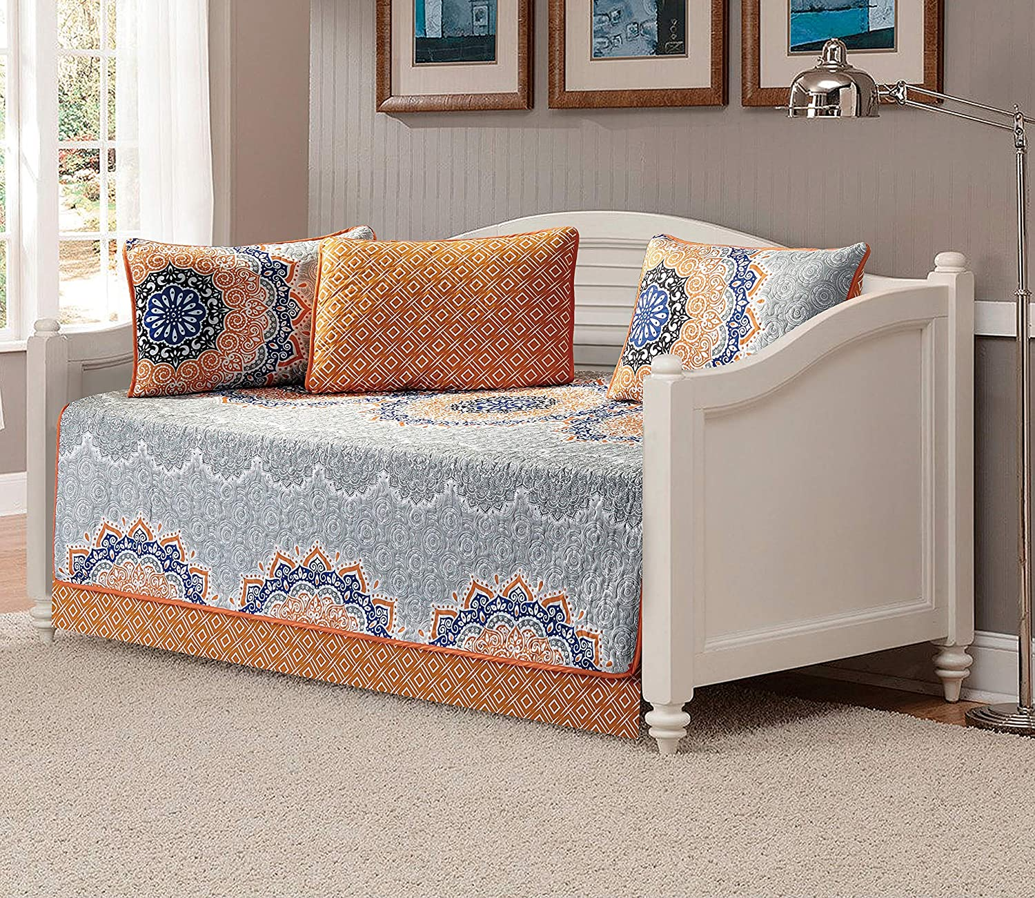 Fancy Collection 5pc Day Bed Quilted Coverlet Daybed Set New (Oslo Orange)