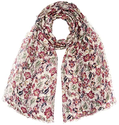 Womens Sari Floral Patchwork Scarf, Blue (Navy Blu), One Size Fat Face