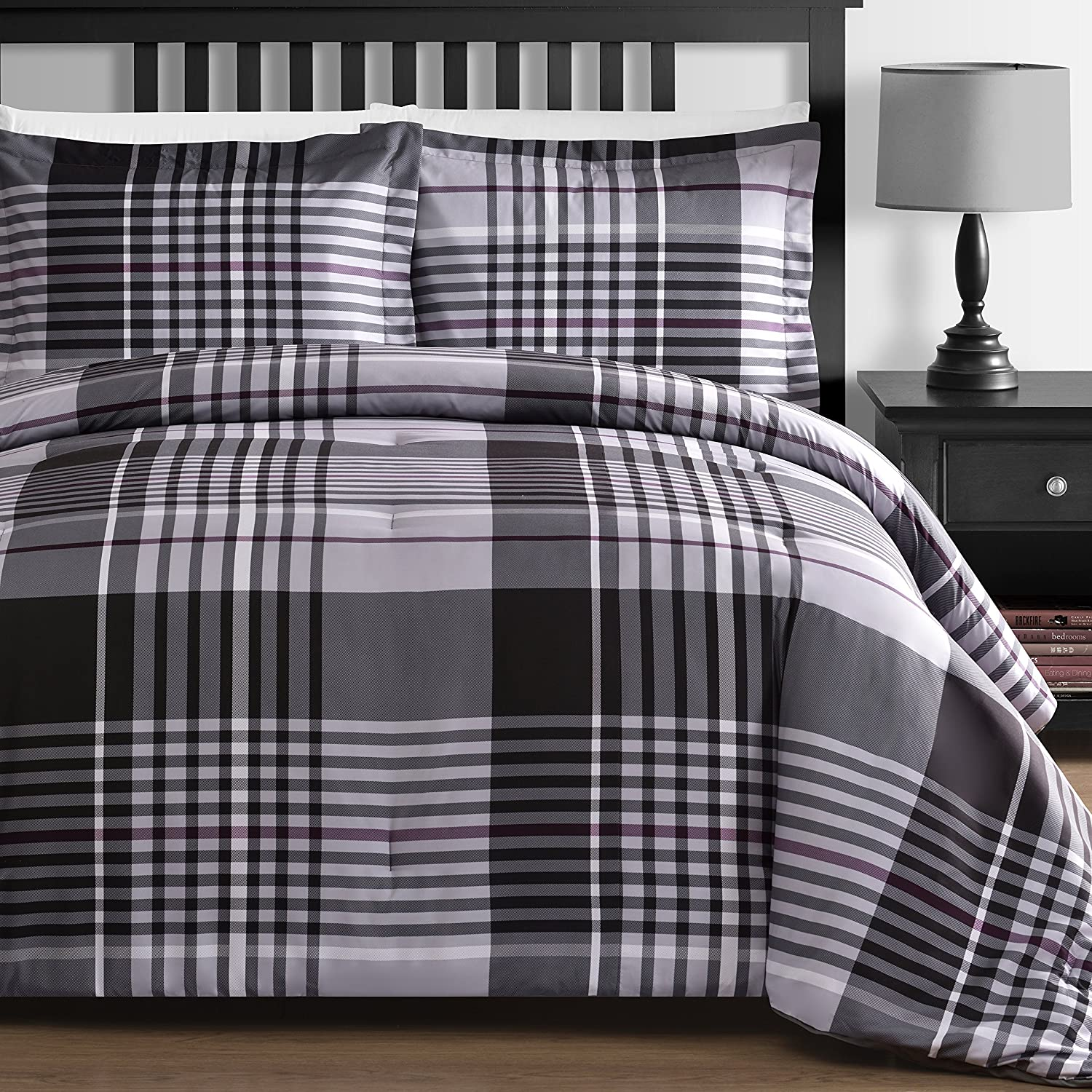 P&R Bedding 3 Piece Plaid Down Alternative Comforter Set in Gray