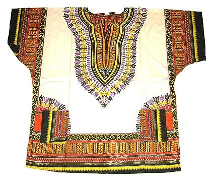 0d4ffce26ba African Dashiki Shirts for Men and Women Traditional Print African Kente Summer  Wear Caftan Dresses BBQ Beach Party Shirt Fancy Dress - White   Amazon.co.uk  ...