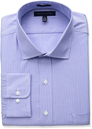 c6b5deff Amazon.com: Tommy Hilfiger Men's Big and Tall Non Iron Tall Fit Stripe  Spread Collar Dress Shirt: Clothing