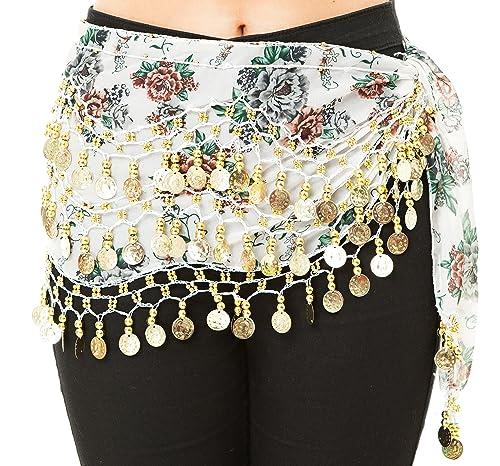 Floral Patterned 3fila de danza del vientre monedas Hip bufanda