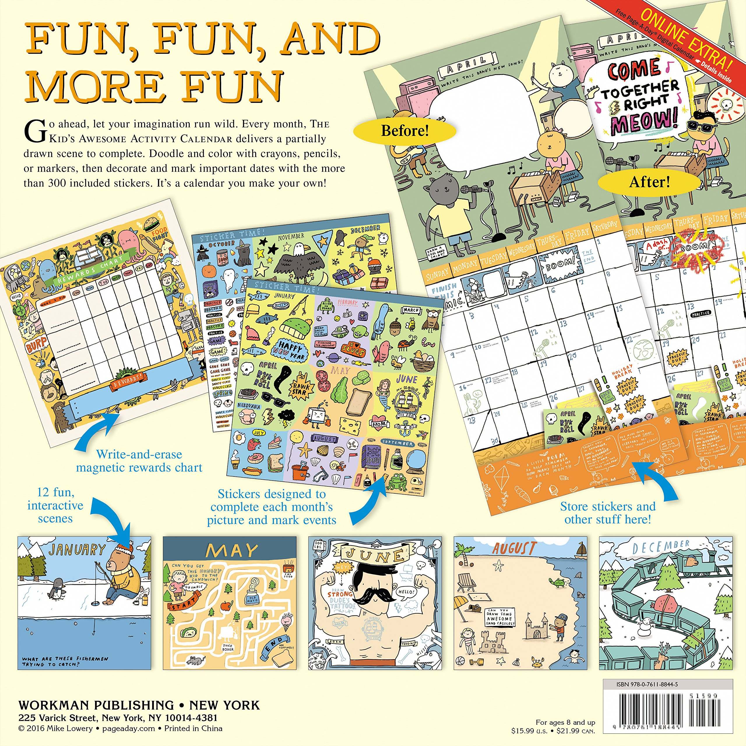 The Kid\'s Awesome Activity Wall Calendar 2017: Mike Lowery ...