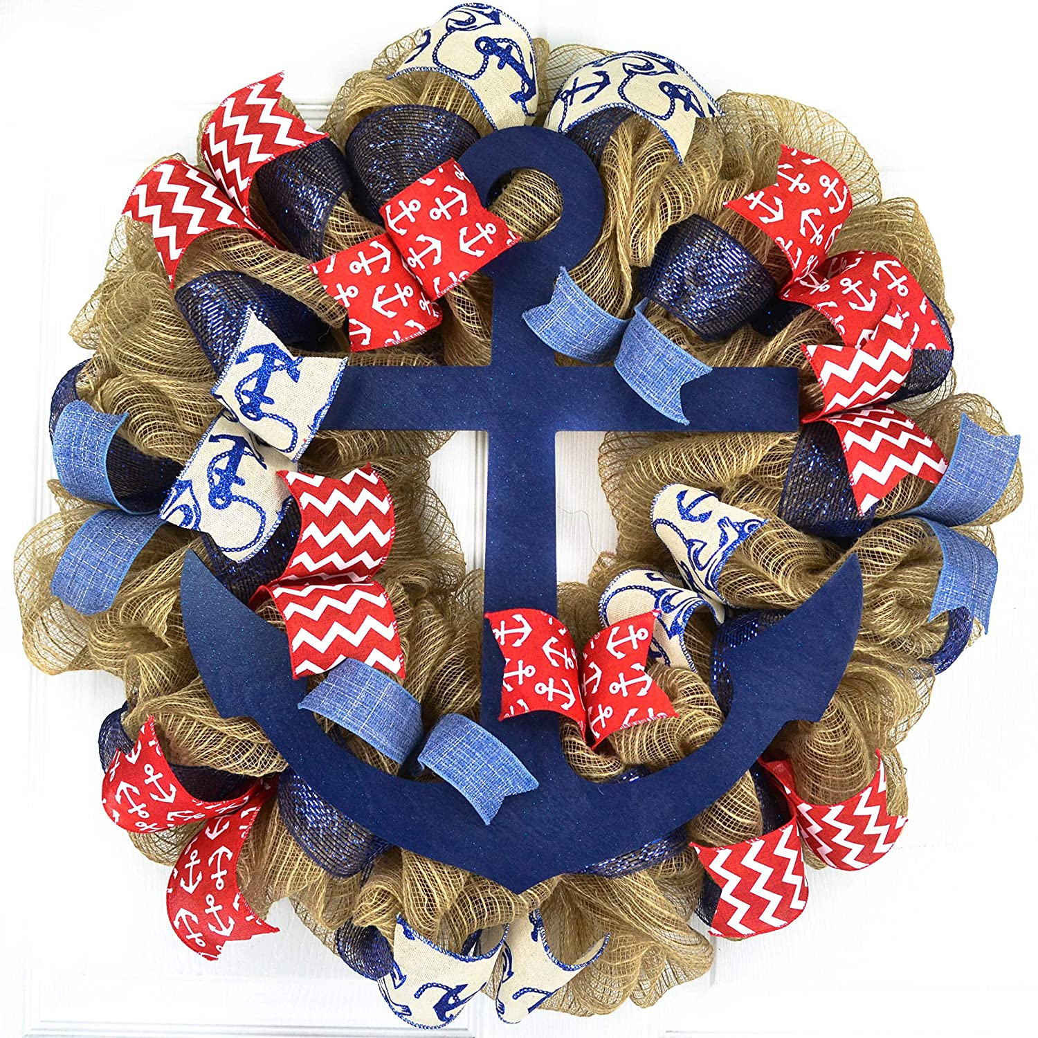 Anchor Wreath | Nautical Decor | Jute Burlap Front Door Wreath | Navy Blue Red White