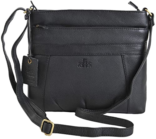 9c4517f41008 ROWALLAN Black Or Navy Medium Leather Shoulder Crossbody Top Zip Handbag  9543 RRP £64.99 (