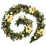 WeRChristmas 9 feet Decorated Pre-Lit Garland Christmas Decoration Illuminated with 40 Warm White LED Lights - Cream/Gold