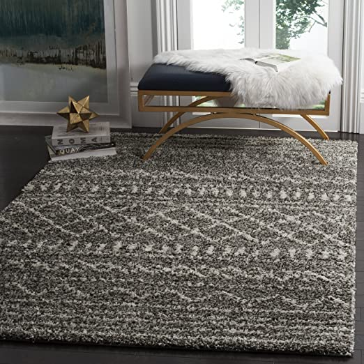 Safavieh Arizona Shag Collection Asg741b Southwestern Brown And Ivory Square Area Rug 6 7 Square