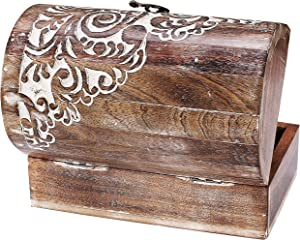 Indian Artisan, Handmade & Handcrafted Wooden Jewelry Box, Jewelry Storage Organizer, Wooden Treasure Box, Vintage Treasure Chest Box, Vintage Style Wood Decorative Nesting Boxes Set of 3- White Wash