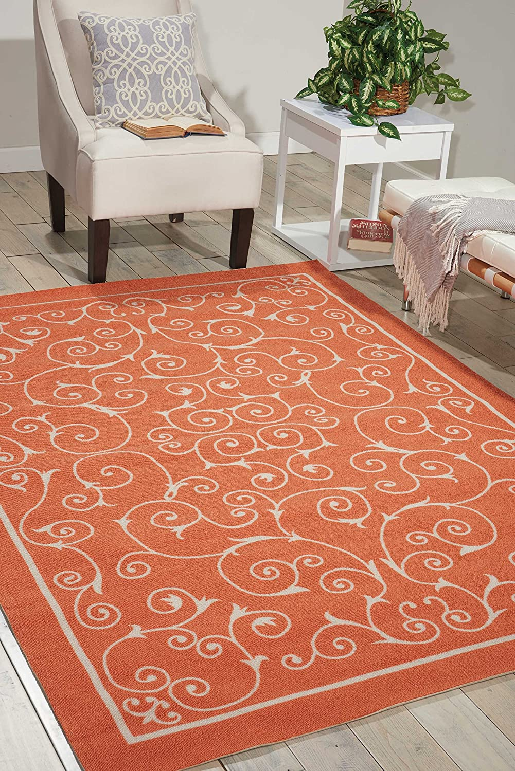 Nourison Home and Garden Indoor/Outdoor Floral Vibrant Orange Rug (5'x7'5