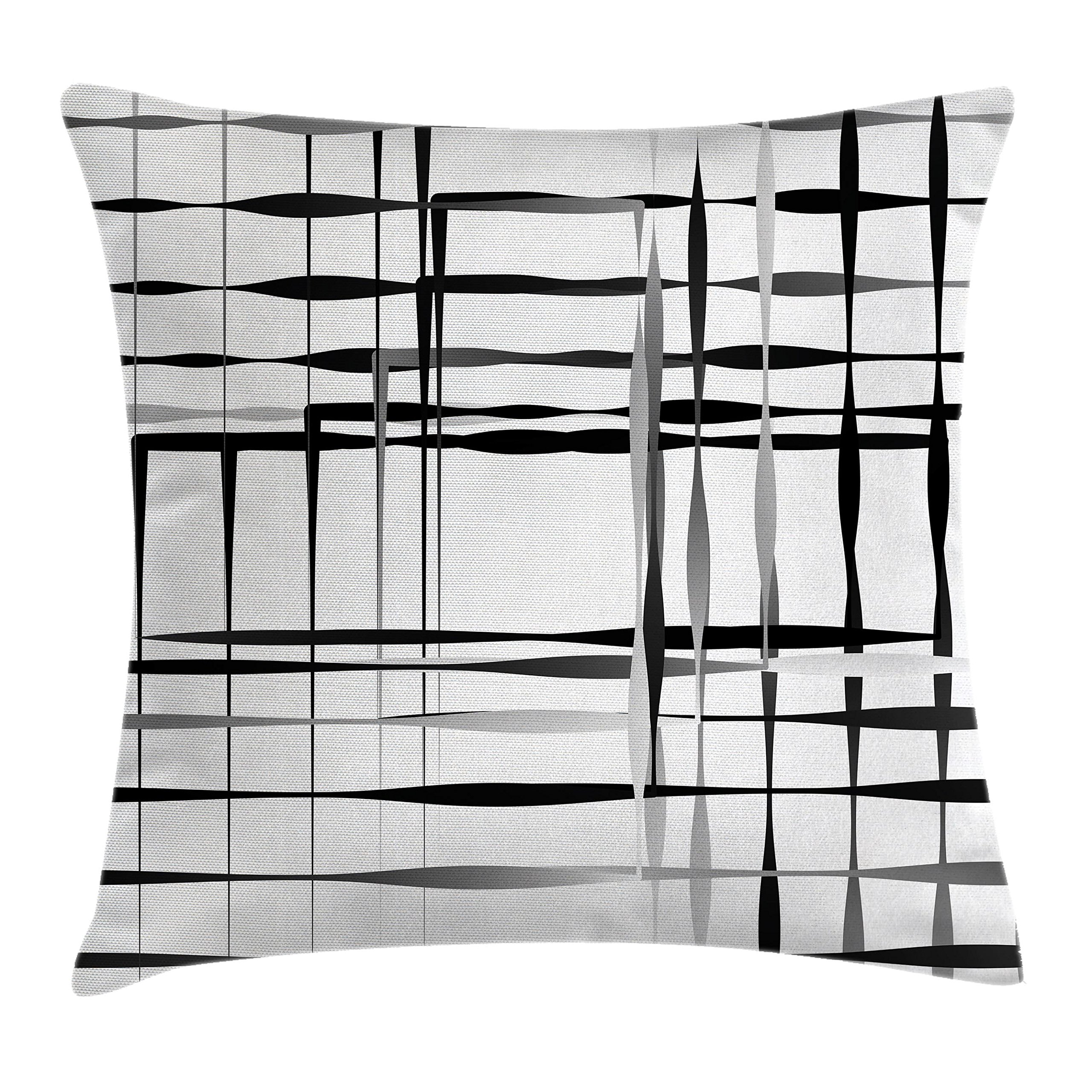 Ambesonne Modern Art Throw Pillow Cushion Cover, Minimalist Image with Simplistic Spaces and Spare Asymmetric Grids and Lines, Decorative Square Accent Pillow Case, 24'' X 24'', Black White by Ambesonne